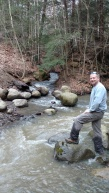Hiking up the creek with Dad